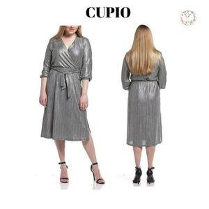 NWT CUPIO Women's 3/4 Sleeve Wrap Midi Dress Sz. S